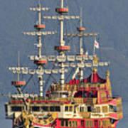 Hakone Sightseeing Cruise Ship Sailing On Lake Ashi Hakone Japan Print by Andy Smy