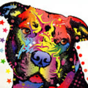 Happiness Pitbull Warrior Print by Dean Russo