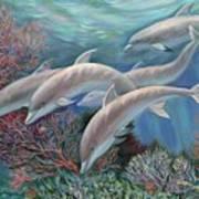 Happy Family - Dolphins Are Awesome Print by Svitozar Nenyuk
