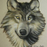 Happy Wolf Print by Linda Diane Taylor