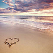 Heart On The Beach Print by Elusive Photography