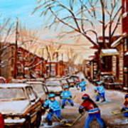 Hockey Gameon Jeanne Mance Street Montreal Print by Carole Spandau