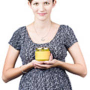 Holistic Naturopath Holding Jar Of Homemade Spread Print by Jorgo Photography - Wall Art Gallery