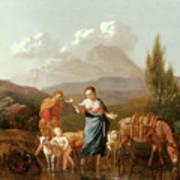 Holy Family At A Stream Print by Karel Dujardin