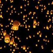 Hot Air Lanterns In Sky Print by Daniel Osterkamp