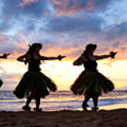 Hula At Sunset Print by David Olsen