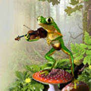 Humorous Tree Frog Playing A Fiddle Print by Regina Femrite
