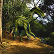 Iguanodon In The Jungle Print by Frank Wilson