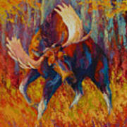 Imminent Charge - Bull Moose Print by Marion Rose