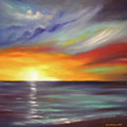 In The Moment Square Sunset Print by Gina De Gorna
