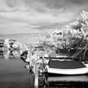 Infrared Boats At Lbi Bw Print by John Rizzuto