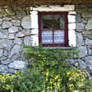 Irish Cottage Window County Clare Ireland Print by Teresa Mucha