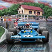 Jackie Stewart At Spa In The Rain Print by David Kyte