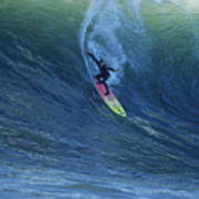 Jay Drops In At Mavericks Print by Stan and Anne Foster