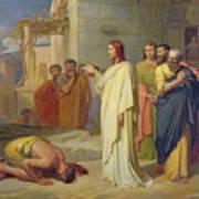Jesus Healing The Leper Print by Jean Marie Melchior Doze