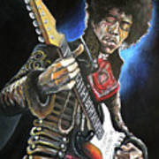 Jimi Hendrix Print by Tom Carlton
