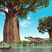 Kaprosuchus Crocodyliforms Print by Walter Myers