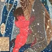 Kintoki Swims Up The Waterfall Print by Kuniyoshi