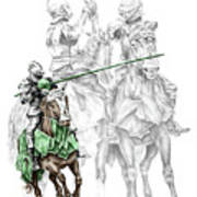 Knight Time - Renaissance Medieval Print Color Tinted Print by Kelli Swan