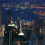 Kowloon Skyline And Victoria Harbour At Dusk Print by Sami Sarkis