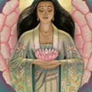 Kuan Yin Pink Lotus Heart Print by Sue Halstenberg