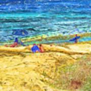 La Jolla Surfing Print by Marilyn Sholin