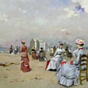 La Plage De Trouville Print by Paul Rossert