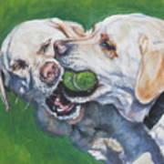 Labrador Retriever Yellow Buddies Print by Lee Ann Shepard