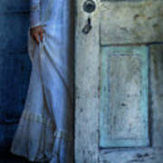Lady In Vintage Clothing Hiding Behind Old Door Print by Jill Battaglia