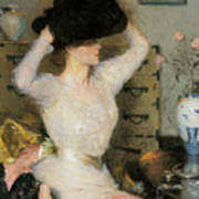 Lady Trying On A Hat Print by Frank Weston Benson