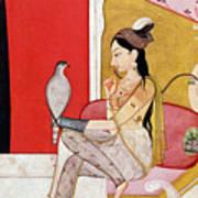 Lady With A Hawk Print by Guler School