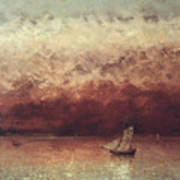 Lake Leman With Setting Sun Print by Gustave Courbet