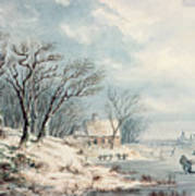 Landscape In Winter Print by JJ Verreyt