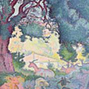 Landscape With Goats Print by Henri-Edmond Cross