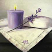 Lavender Sprig Print by Linda Jacobus
