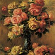 Les Roses Dans Un Vase Print by Pierre-Auguste Renoir
