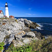 Lighthouse At Cape Elizabeth Print by George Oze
