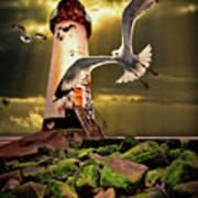 Lighthouse With Seagulls Print by Meirion Matthias