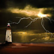Lightning Storm Print by Meirion Matthias