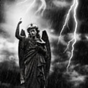 Lightning Strikes The Angel Gabriel Print by Amanda And Christopher Elwell