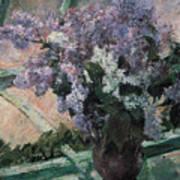 Lilacs In A Window Print by Mary Cassatt