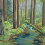 Little Stream In The Woods Print by Vidyut Singhal