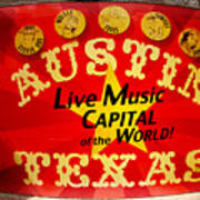 Live Music Mural Of Austin Print by Andrew Nourse