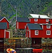 Lofoten Fishing Huts Oil Print by Steve Harrington