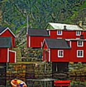 Lofoten Fishing Huts Print by Steve Harrington