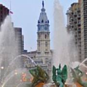 Logan Circle Fountain With City Hall In Backround 4 Print by Bill Cannon
