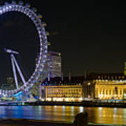London Eye At Night Print by Clarence Holmes