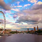London Eye Evening Print by Kapuk Dodds