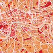 London Map Art Red Print by Michael Tompsett