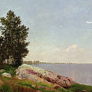 Long Island Sound At Darien Print by John Frederick Kensett